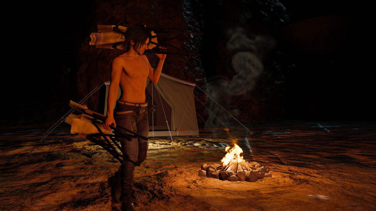 ffxv noctis screenshot camping
