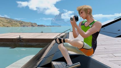 final fantasy xv screenshot prompto on boat